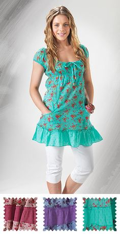 Danita flower print tunic with pockets > Sale Tunics > Sale ...