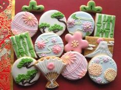 Icing cookies in Japanese style. Japanese Sweets, Japanese Cookies, Japanese Snacks, Galletas Cookies, Iced Cookies, Cute Cookies, Sugar Cookies, Cupcakes, Cupcake Cookies