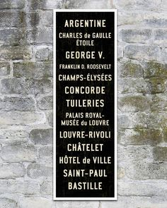 SMALL Paris Metro Subway Sign. Bus Scroll Art. by TransitDesign, $99.00 (rolled canvas) or $149 (stretched canvas - US only). on Etsy