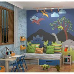 Uauuuuu Que #quartoinfantil Lindolfo no tema #dinossauro Marque uma mamãe pra se inspirar neste #quartolindo . . @fina.stampa #quartoinfantil #quartodecrianca #quartobebe #quartodemenino #quartodemenina #kidsroom #decoracaoinfantil #tbt #papeldeparede Kids Bedroom Designs, Boys Bedroom Decor, Kids Room Design, Baby Bedroom, Baby Boy Rooms, Nursery Room, Dinosaur Room Decor, Dinosaur Bedroom, Dinosaur Kids Room