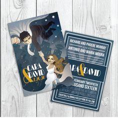 Wedding Invite Design Sandy Vazan Illustration #illustration #wedding #wedding invite #silver #blue #superhero #superman #daily planet Elmhurst Inn, Blue Superhero, Superhero Superman, The Twenties, Illustration, Invite, Bbq, Silver, Wedding