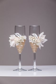 rustic wedding glasses rustic wedding flutes by WeddingArtGallery