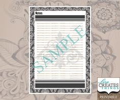 Damask Design - Notes Planner Page A5 Printable