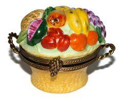 Porcelain Limoges Box Fruit Basket.