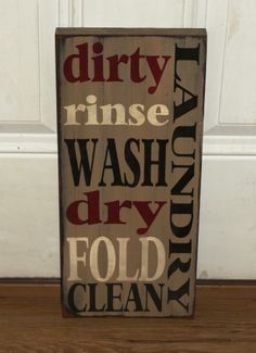 Primitive Wood Laundry Typography Sign