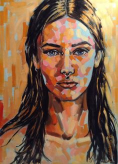 "Saatchi Online Artist: Magdalena Ana Rosso; Oil 2013 Painting ""Orange Portrait"""