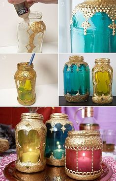 diy moroccan style laterns. So easy. Just think of the henna type patters you could do. All your need is a jar and come creativity.