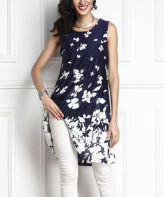 Look what I found on #zulily! Navy Floral Sleeveless Tunic #zulilyfinds