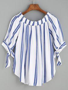 Blue Vertical Striped Tie Sleeve Curved Hem Blouse -SheIn(Sheinside)