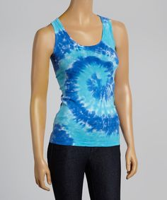 This Aqua Tie-Dye Scoop Neck Top by Fashion on the Run is perfect! #zulilyfinds