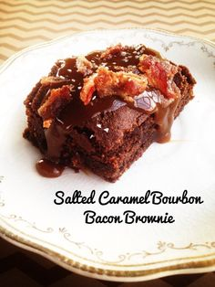 Salted Caramel Bourbon Bacon Brownies by @RealSustenance (we've got a similar recipe for #beyondbacon so I know it's amazeballs!)