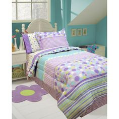 Gingham, stripes, and dots: purple, aqua, and green comforter