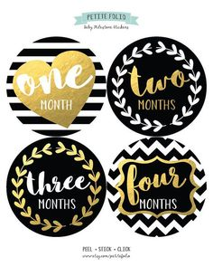 Baby Monthly Stickers, Baby Month Stickers, Monthly Bodysuit Stickers, Gold and Black, Baby Shower G