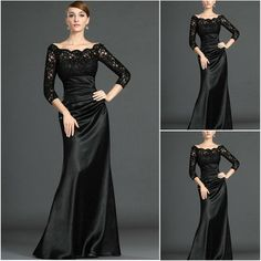 9fb0d9610f7c39 Hot Sale Sheath Off The Shoulder Long Sleeves Lace Satin Black Evening  Party Gowns Prom Dresses