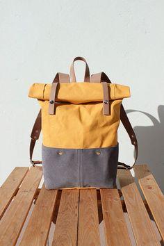 Wuchs Canvas Rucksack Rolltop mit Beige Lederdetails, Waxed Canvas Rucksack Roll Top, gelb: