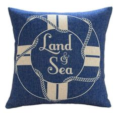 "Amazon.com - MagicPieces Cotton and Flax Nacy Style Land and Sea Decorative Pillow Cover Case B 18"" x 18"" Square Shape-ocean-beach-sea-print..."