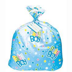 Jumbo Plastic Blue Polka Dot Boy Baby Shower Gift Bag >>> Visit the image link more details.