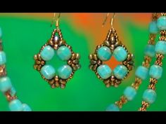 Turquoise Baroque Earrings Tutorial by Designer Beadwork. Diy Jewelry Videos, Jewelry Making Tutorials, Beading Tutorials, Seed Bead Jewelry, Seed Bead Earrings, Diy Earrings, Hoop Earrings, Beaded Earrings Patterns, Jewelry Patterns