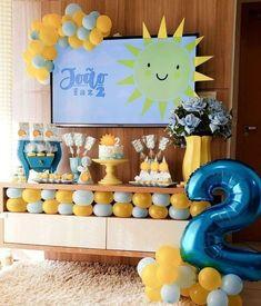 Sunshine Birthday Parties, Boys First Birthday Party Ideas, First Birthday Pictures, Boy Birthday, Party Hacks, Paw Patrol Birthday, Blue Party, Birthday Decorations, First Birthdays