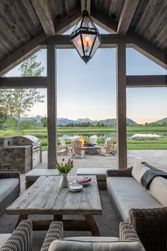 Covered porch with firepit and grill area brings the family together Future House, House Goals, Cheap Home Decor, Modern Architecture, Pavilion Architecture, Sustainable Architecture, Residential Architecture, My Dream Home, Exterior Design