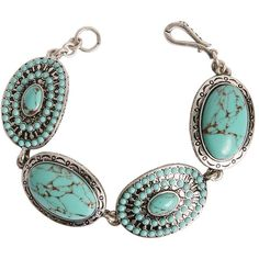Lucky Brand Silver-Tone Metal & Turquoise Bracelet ($45) ❤ liked on Polyvore featuring jewelry, bracelets, accessories, silvertone, turquoise bangle, turquoise jewelry, lucky brand jewellery, blue turquoise jewelry и green turquoise jewelry