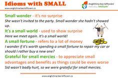 Idiomy jsou nedílnou součástí angličtiny, bez jejich znalosti se neobejde žádný pokročilejší student. 📖🎓 #anglictina #idiomy #small Small Wonder, We Meet Again, Idioms, Small World, Proverbs, Invitations, Languages, Powerful Quotes, Sayings