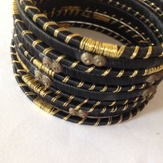Silk Lurex Fabric Sari Bangles, Indian hand made bangles, black and golden thread wrapped around bangles, vintage bought in Set of 10 Silk Thread Bangles, Thread Jewellery, Bangle Bracelets, Handmade Jewelry, Sari, Gemstones, Indian Bangles, Thread Work, Stuff To Buy