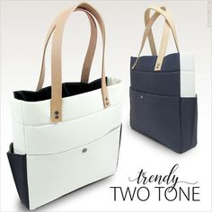 Free Pattern - Modern Two Tone Tote with Tandy Leather Accents  Fabric Depot   d196debb8ffd2