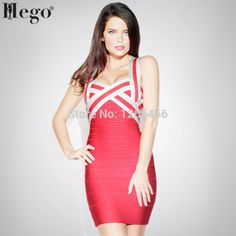 HEGO 2015 New Fashion Rayon Patchwork Striped V Neck Strap Cute Tight Bandage Dress Hot Summer Dress H070