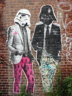 hipster Darth Vader  street art