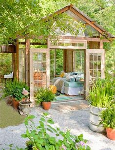 She Sheds Are the New Man Caves Amazing little garden house from Better Homes Gardens. Could do a guest house in the back yard! The post She Sheds Are the New Man Caves appeared first on Garden Easy.