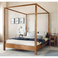 Add a royal touch to your room with this gorgeous four poster bed. Made in solid wood this bed, is made with four vertical columns supporting an upper panel. Classic yet elegant, this Four Poster Bed makes a beautiful centerpiece for your bedroom, and the most comfortable bed!