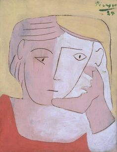 """Pablo Picasso (Malaga, Spain """"Head of a Woman"""". Oil on canvas x x © Succession Picasso/DACS Kunst Picasso, Art Picasso, Picasso Paintings, Atelier D Art, Georges Braque, Small Paintings, Indian Paintings, Art Moderne, Kandinsky"""
