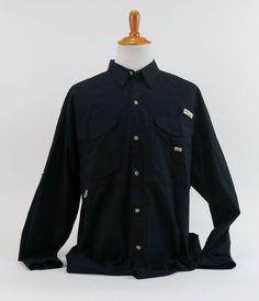 60bfd417c49 Columbia PFG Fishing Golf Vented Black Button Front Long Sleeve Shirt Size  XL #Columbia #