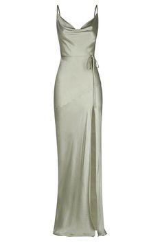 Grad Dresses, Women's Dresses, Satin Dresses, Ball Dresses, Elegant Dresses, Pretty Dresses, Beautiful Dresses, Gowns, Sage Bridesmaid Dresses