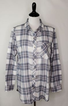 f141466f8f3bf Details about Athleta Women s Sz M Gray Pink  White Plaid L S Button Up Shirt  100% Cotton EUC