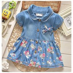 Cheap baby dress, Buy Quality baby girl dress directly from China baby denim dress Suppliers: 2017 Spring Summer Baby Dress Casual Style Baby Girls Dress High Quality Bow Baby Denim Dress Turn Down Collar Baby Girl Clothes Baby Summer Dresses, Baby Girl Dresses, Summer Baby, Spring Summer, Summer Outfits, Dress Summer, Summer Kids, Baby Girl Bows, Baby Girls