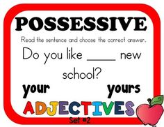 POSSESSIVE ADJECTIVES - 2 sets of 28 Task Cards ******Task Cards were revised on October 18, 2015****** Grade 1-2 aligned but can also be used for grades 1-3 Task cards are a fun way to review, practice, and assess skills! There are a variety of ways to use them, such as small groups, in centers ...