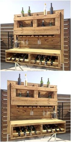 This is a shipping pallet bar idea, which can be copied for the home and if required for starting a business; then it will serve best. You can see how the bottles are fitted in the space created for it. There is space for glasses as well and it helps in placing the bottles in an organized way.