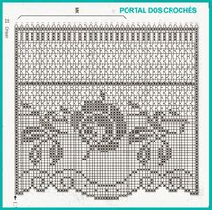 Gardine Häkeln - crochet curtain        -PORTAL DOS CROCHÊS: CORTINAS DE CROCHÊ COM ROSAS