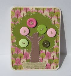 Handmade Birthday Card With Buttons from IHEARTCRICUTCRAFTS on Etsy