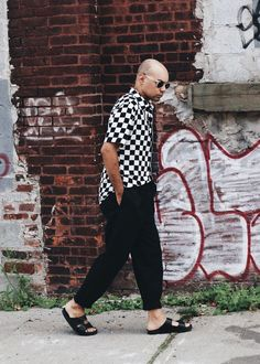 Checkmate - Checkered Print Woven + Oversized Trousers