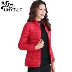 505028a110c UHYTGF Thin Cotton Jacket Short Tops Winter Jacket Women Coat Korean Slim  Plus size Female Parka Coat Wave pattern Padded Jacket