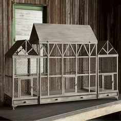 barn birdcage from Park Hill Collection Backyard Chicken Coops, Chickens Backyard, Bird Cage Design, Flight Cage, Park Hill Collection, Antique Bird Cages, Bunny Room, Hamster House, Victorian Farmhouse