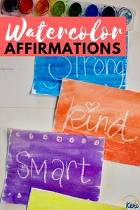 watercolor affirmations small group counseling activity, for self esteem and positive self talk, counselor keri