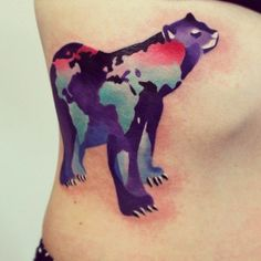 Animal and Map Tattoo love this bear w map