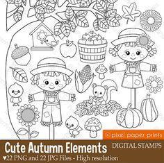 Cute Autumn Elements - Digital stamps - Clipart