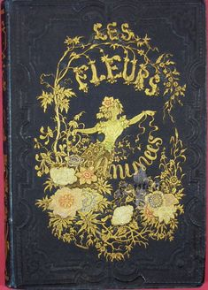 The Les Fleurs Animées cover featuring elaborate illustrated lettering. Nature lettering was a very popular practice in Victorian times. The cover design is from Lourania. Book Cover Art, Book Cover Design, Book Design, Book Art, Old Books, Antique Books, Jm Barrie, Megan Hess, Vintage Book Covers
