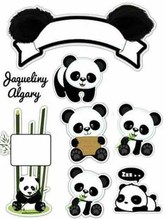 - Oh My Fiesta! in english Panda Themed Party, Panda Birthday Party, Panda Party, Panda Bebe, Cute Panda, Printable Stickers, Free Printables, Bolo Panda, Panda Baby Showers