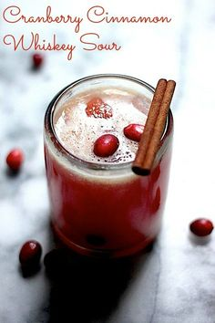 The Cranberry Cinnamon Whiskey Sour - perfect for Fall cocktail parties!